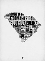 South Carolina Word Cloud 1 Fine Art Print