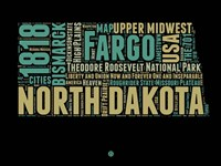North Dakota Word Cloud 1 Fine Art Print