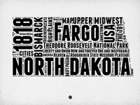 North Dakota Word Cloud 2 Fine Art Print