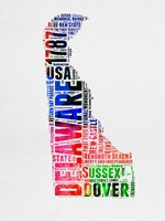 Delaware Watercolor Word Cloud Fine Art Print