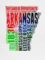 Arkansas Watercolor Word Cloud Fine Art Print