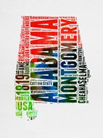 Alabama Watercolor Word Cloud Fine Art Print