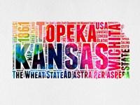 Kansas Watercolor Word Cloud Fine Art Print