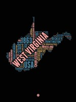 West Virginia Word Cloud 1 Fine Art Print