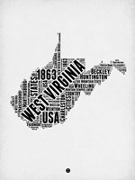 West Virginia Word Cloud 2 Fine Art Print