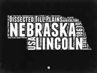 Nebraska Black and White Map Fine Art Print