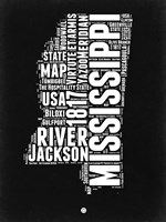 Mississippi Black and White Map Fine Art Print