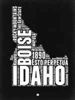 Idaho Black and White Map Fine Art Print