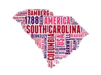 South Carolina Word Cloud Map Fine Art Print
