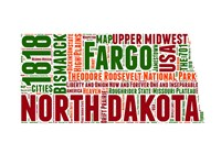 North Dakota Word Cloud Map Fine Art Print