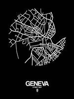 Geneva Street Map Black Fine Art Print