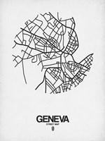 Geneva Street Map White Fine Art Print