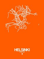 Helsinki Street Map Orange Fine Art Print