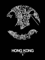 Hong Kong Street Map Black Fine Art Print