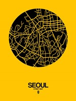 Seoul Street Map Yellow Fine Art Print