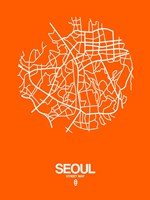 Seoul Street Map Orange Fine Art Print