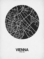 Vienna Street Map Black on White Fine Art Print