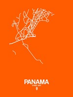 Panama Street Map Orange Fine Art Print