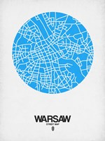 Warsaw Street Map Blue Fine Art Print