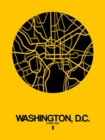 Washington DC  Street Map Yellow Fine Art Print