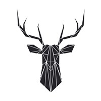 Black Polygon Deer Fine Art Print