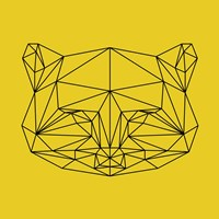 Yellow Raccoon Polygon Fine Art Print