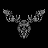 Moose Head Black Mesh Fine Art Print