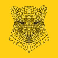Panther Head Yellow Mesh Fine Art Print