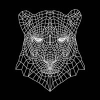 Panther Head Black Mesh Fine Art Print