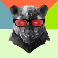 Party Panther in Red Glasses Fine Art Print