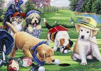 Golfing Puppies Fine Art Print