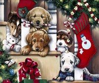 Christmas Puppies On The Loose Fine Art Print