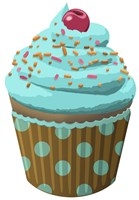 Chocolate Cupcake Blue Fine Art Print