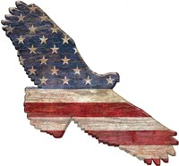 American Flag Eagle Cut Out Flat Fine Art Print