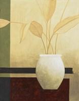 Leaves and White Vase Fine Art Print