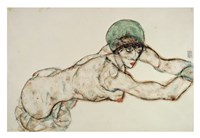 Reclining Female Nude with Green Cap, Leaning to the Right, 1914 Fine Art Print
