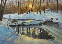 Winter Brook Sunset Fine Art Print