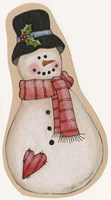 Red Scarf Snowman With Black Hat Fine Art Print