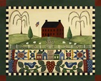 Red House With Quilts Framed Print