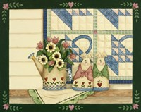 Bunnies, Watering Can With Quils Fine Art Print
