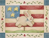 Bunny With Flag Background Fine Art Print