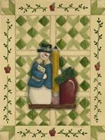 Snowman Teacher With Apple & Pencil Framed Print