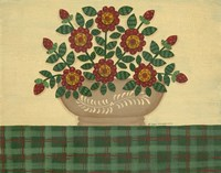 Red Flowers With Dark Green Tablecloth Framed Print
