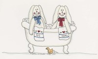 Bath Time Bunnies Fine Art Print