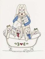 Bath Time Bunnies 2 Framed Print
