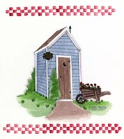 Outhouse With Wheelbarrow Fine Art Print