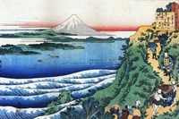 Snow on Mount Fuji, Porters Climb Uphill. Fine Art Print