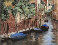 Barche Blu A Venezia Fine Art Print