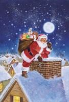 Santa On Rooftop Fine Art Print