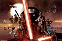 Star Wars 7 TFA - Group Fine Art Print
